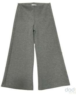 Elsy pantalón palazzo felpa elástica gris con vivo lateral