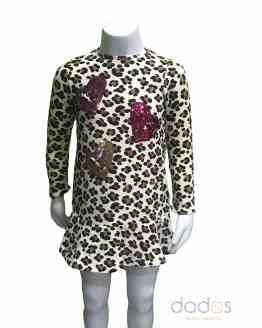 Sarabanda vestido felpa stretch animal print