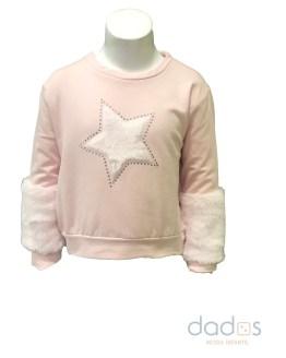 Ido sudadera niña rosa felpa stretch estrella