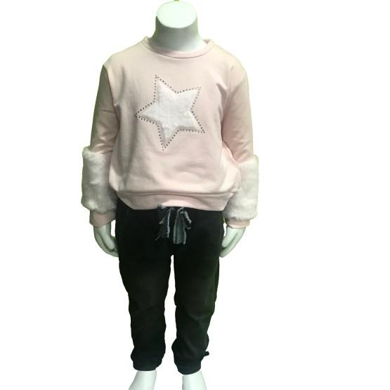 Propuesta look Ido sudadera niña rosa felpa stretch estrella