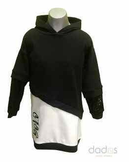 Sarabanda vestido en felpa stretch negro y blanco