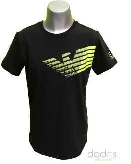 Armani EA7 camiseta chico negra logo fluor relieve