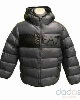 Armani EA7 chaquetón chico gris logo delantero