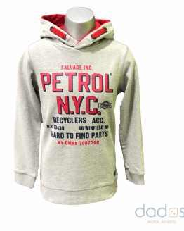 Petrol sudadera chico gris letras rojas