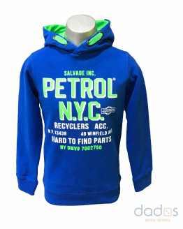Petrol sudadera chico azulona letras verde fluor