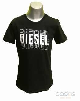 Diesel camiseta chico negra logo letras 3D
