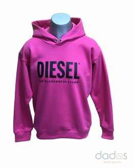 Diesel sudadera fucsia logo letras negras