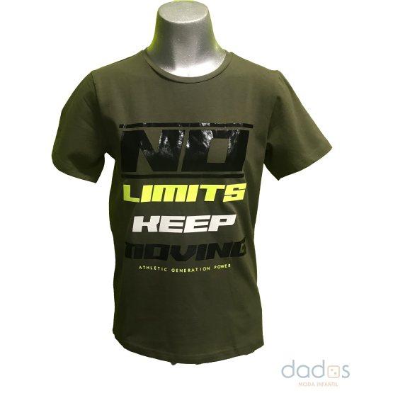 IDO camiseta chico verde kaki letras fluor