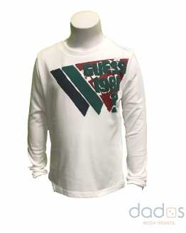 Guess camiseta niño blanca logo engomado multicolor