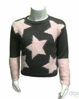 Ido jersey niña punto gris estrellas rosas