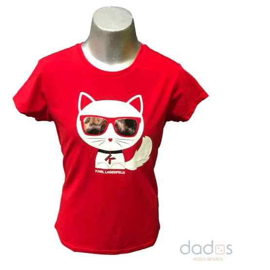 Karl Lagerfeld camiseta chica roja gato con gafas