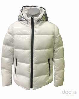 BIB chaquetón chica blanco capucha plateada
