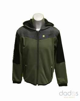 IDO chaqueta chico tecnofelpa verde kaki combinada gris