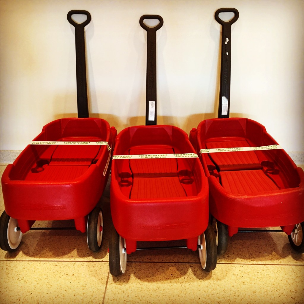 Red wagons at St. Jude