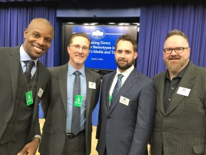 Fathers were well-represented in Washington, D.C., in early April at a White House conference on gender stereotypes in media and toys. Left-right: Doyin Richards, Carter Gaddis, Charlie Capen, Brent Almond. Photo: Carter Gaddis