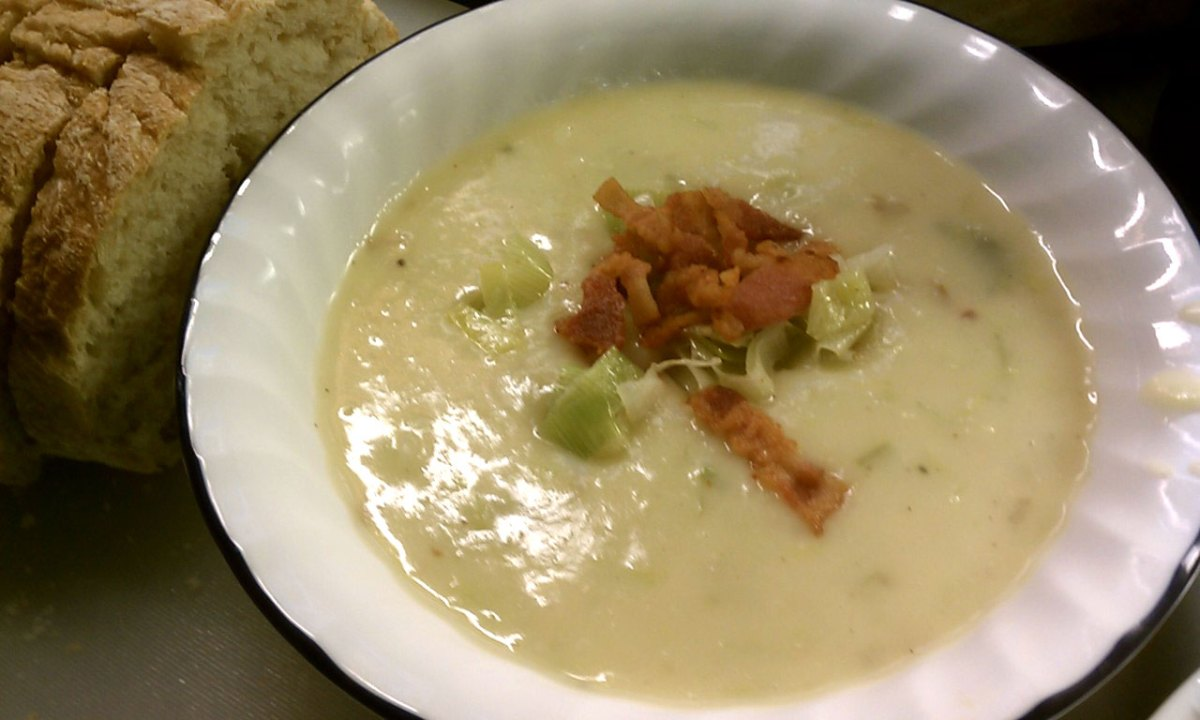 Cream of Potato and Leek Soup (with Bacon)