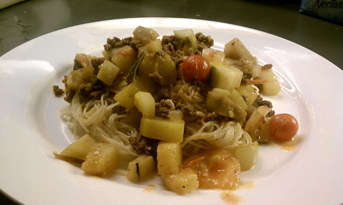 Ratatouille with Ground Beef over Pasta