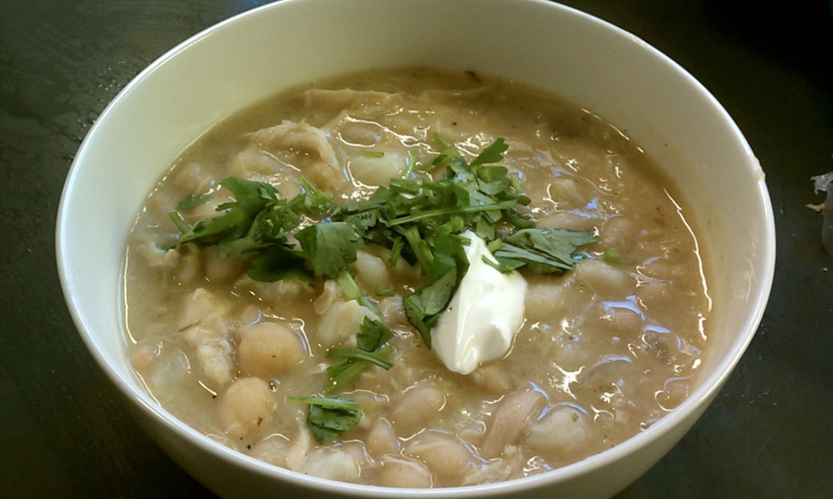White Bean Hominy Chicken Chili