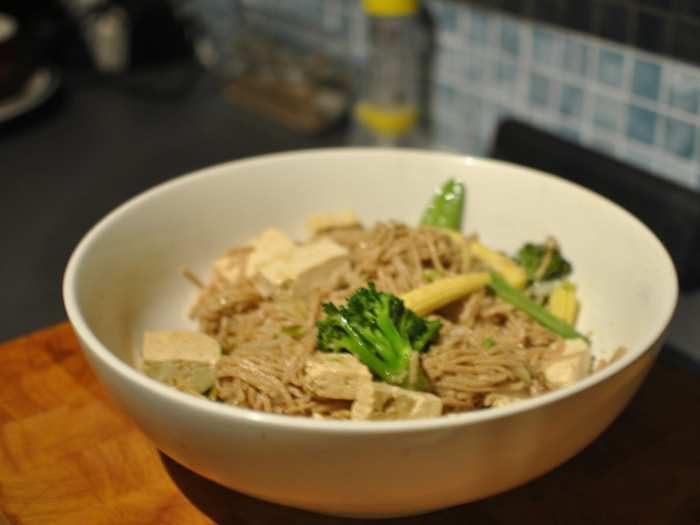bowl of tofu noodles