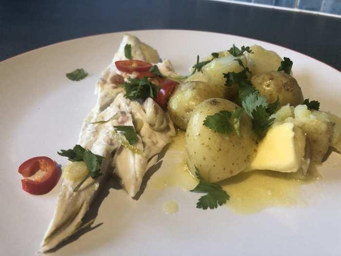 Thai inspired seabass with new potatoes