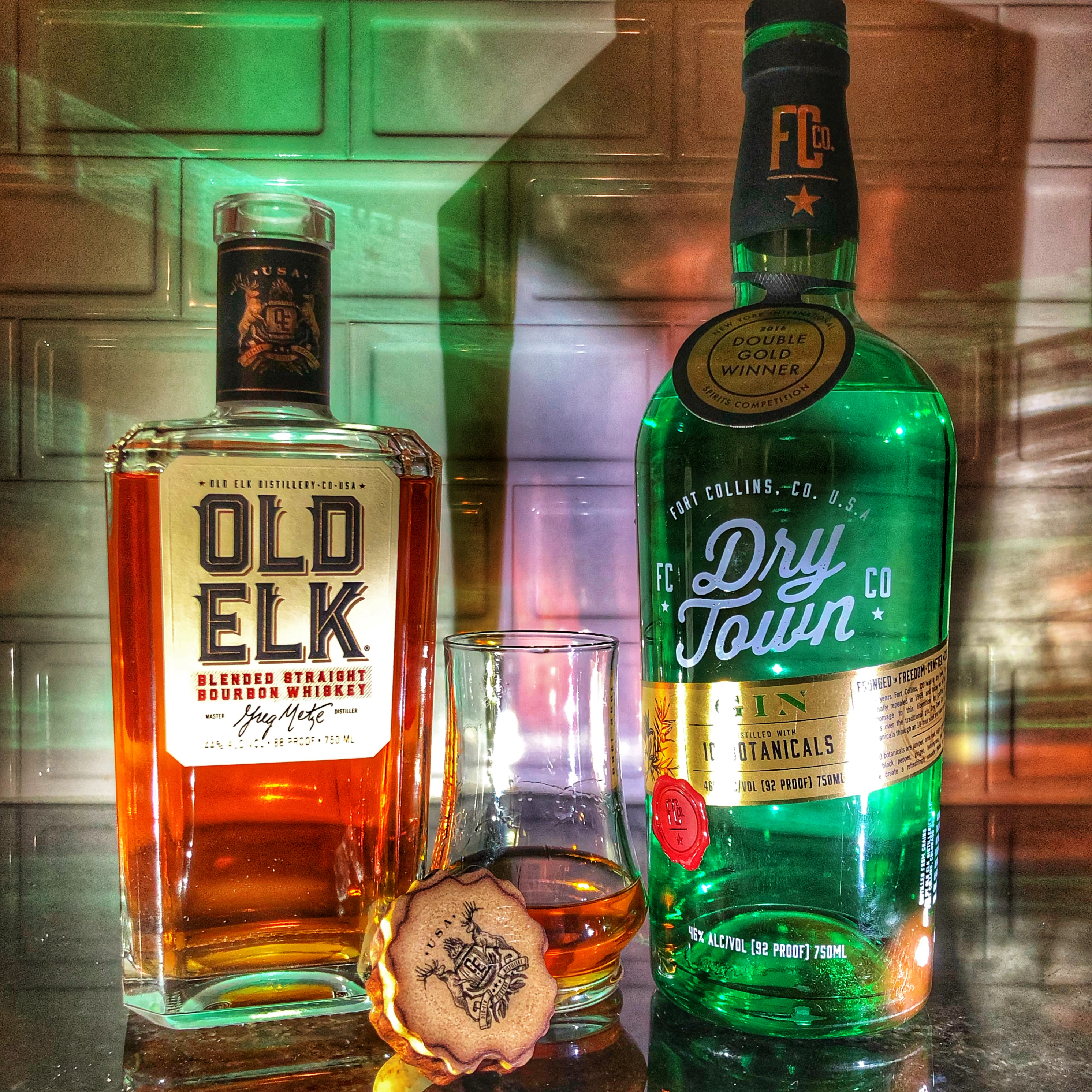 Old Elk Bourbon and Dry Town Gin