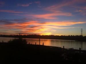 Setting sun over the Ohio River