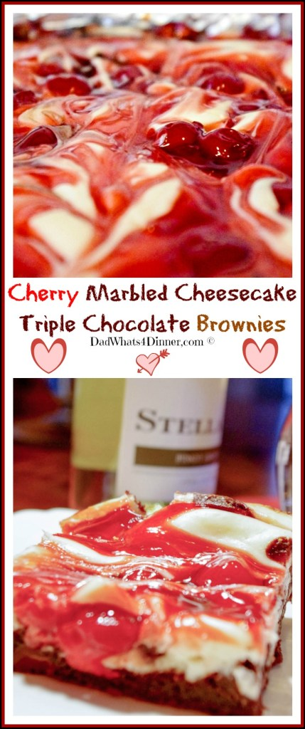 Luscious Cherry Marbled Cheesecake Triple Chocolate Brownies are divinely decadent and perfect for that special someone on Valentine's Day! | www.dadwhats4dinner.com ©2015