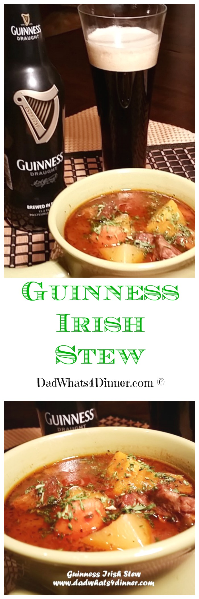 My Guinness Irish Stew can be made on the stove or in the slow cooker so you will be ready for your St Patrick's Day Party!