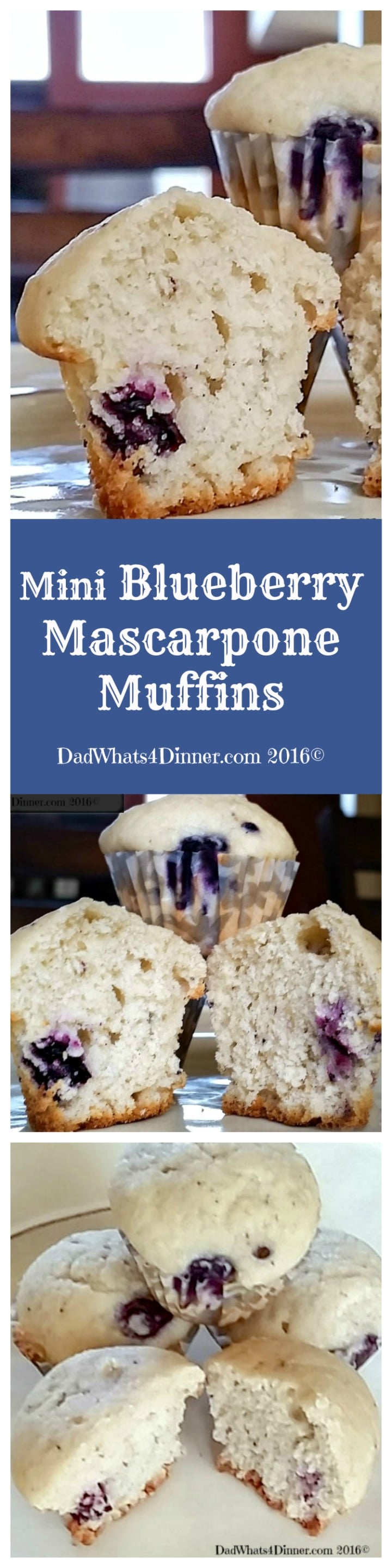 My Blueberry Mascarpone Muffins are extra creamy and perfect for breakfast, brunch or an afternoon snack! Kids will love these mini muffins. www.dadwhats4dinner.com