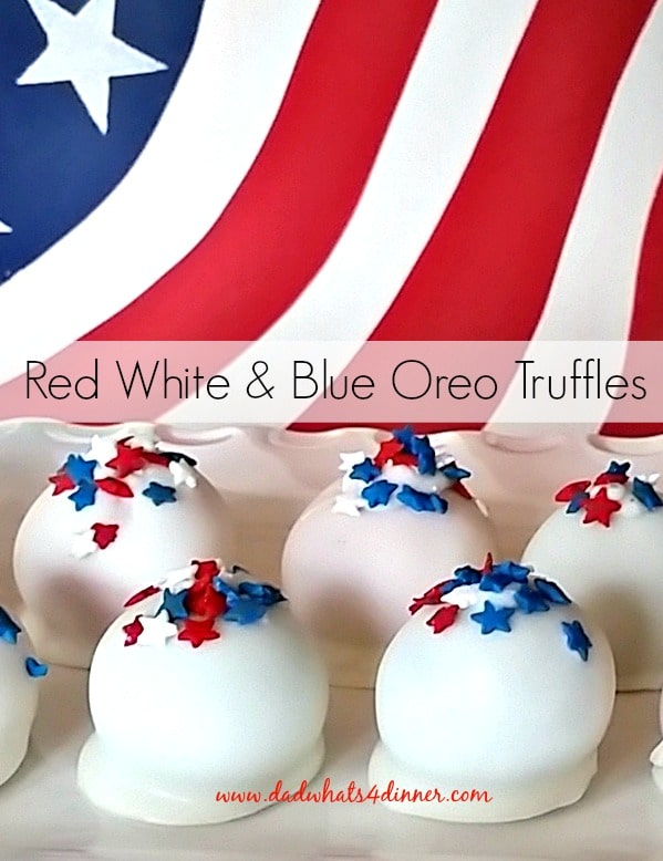 Here is your last-minute treat to bring to the cookout. Red, White and Blue Oreo Truffles: a quick, no bake, easy dessert, that looks great.