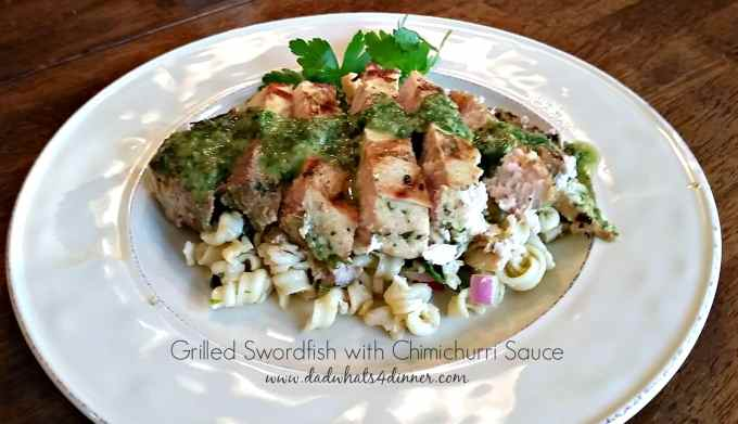 Grilled Swordfish with Chimichurri Sauce is a simple healthy grilling recipe bursting with bold flavors of the Chimichurri sauce!