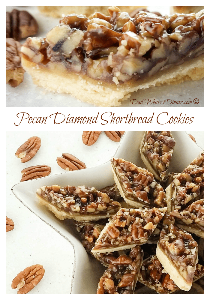 If you like pecan pie you will fall in love with these Pecan Diamond Shortbread Cookies. Great combination of shortbread crust and chewy pecan topping. #Christmas #pecan #shortbread www.dadwhats4dinner.com