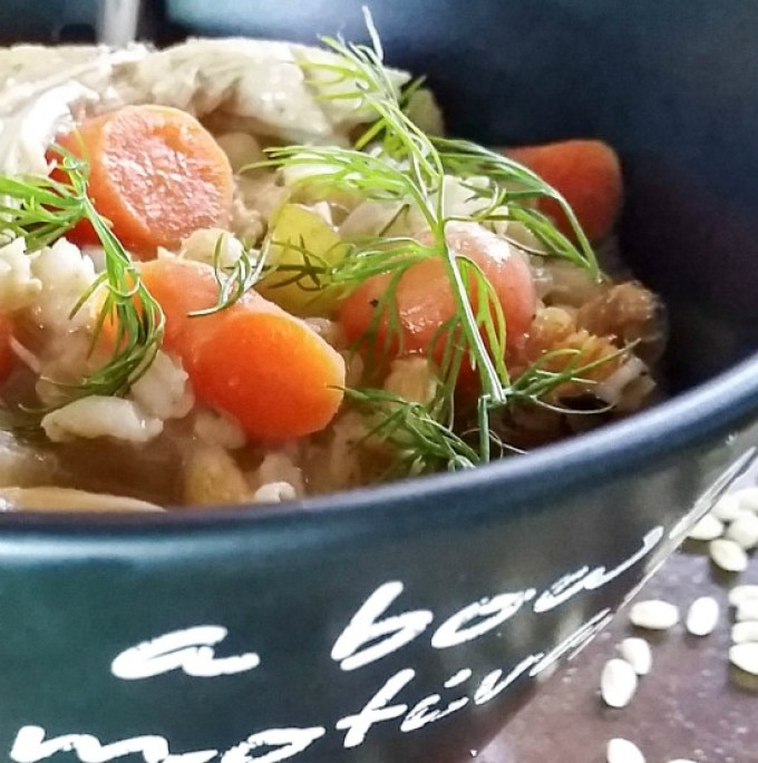 Panera Copycat Slow Cooker Creamy Chicken Barley Soup is perfect for a cold winter's day! Simple and healthy and easily made in the crock pot.   http://dadwhats4dinner.com