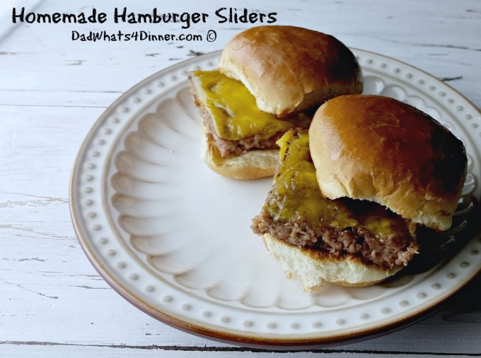 Here is a great simple appetizer for the Big Game or anytime. Homemade Hamburger Sliders are tiny steamed hamburgers usually served with onions, pickles and cheese.