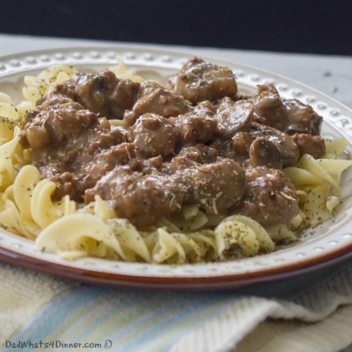 Slow Cooker Cube Steak Marsala | http://dadwhats4dinner.com