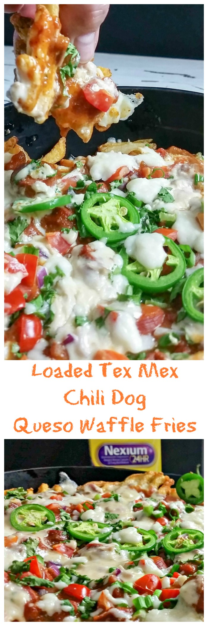 Be prepared for Race Day with my Loaded Tex Mex Chili Dog Queso Waffle Fries. Chili dogs meats queso fries