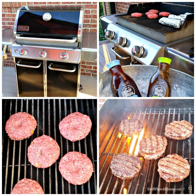 Grilling the ultimates cheeseburger on a Weber Grill