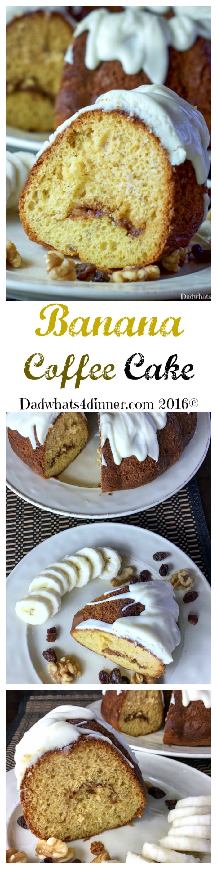 My Banana Streusel Coffee Cake is super moist with a sweet cream cheese frosting. Perfect for breakfast or dessert! #coffee-cake #cake #breakfast #brunch #banana-bread #holiday