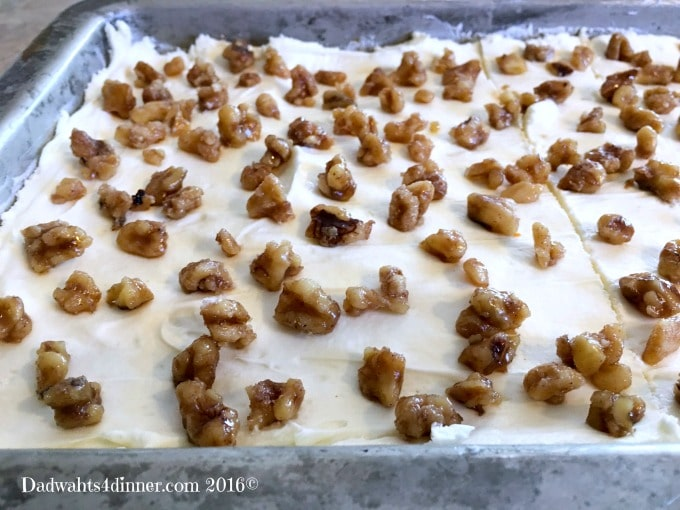 Pan of Carrot Cake Bars with Cream Cheese Frosting. Simple and delicious!