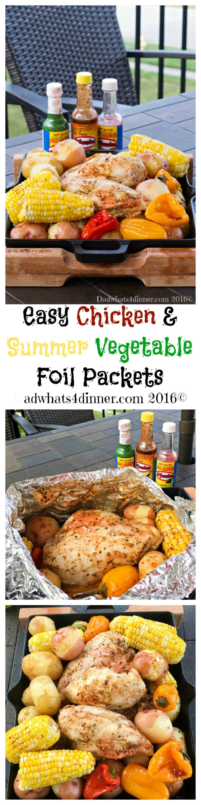 Go Native with my flavorful and Easy Chicken & Summer Vegetable Foil Packets with Habanero Butter made with El Yucateco® Red Habanero Sauce. www.dadwhats4dinner.com