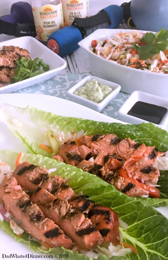 Getting Healthy with my Grilled Salmon Lettuce Wraps, exercise and Sundown Natural's Gummies!