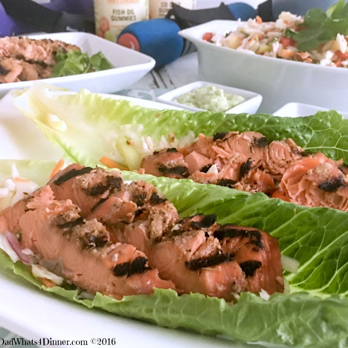 Getting Healthy with Grilled Salmon Lettuce Wraps and Sundown Naturals® Gummies