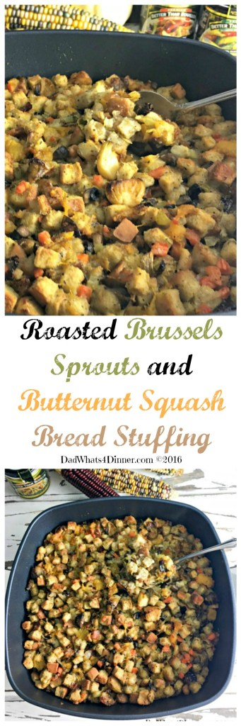 This Thanksgiving try a new twist on stuffing with this Roasted Brussels Sprouts and Butternut Squash Bread Stuffing. Lots of veggies and full of flavor! #makemealsbetter #ad @BTBouillon #swissdiamond