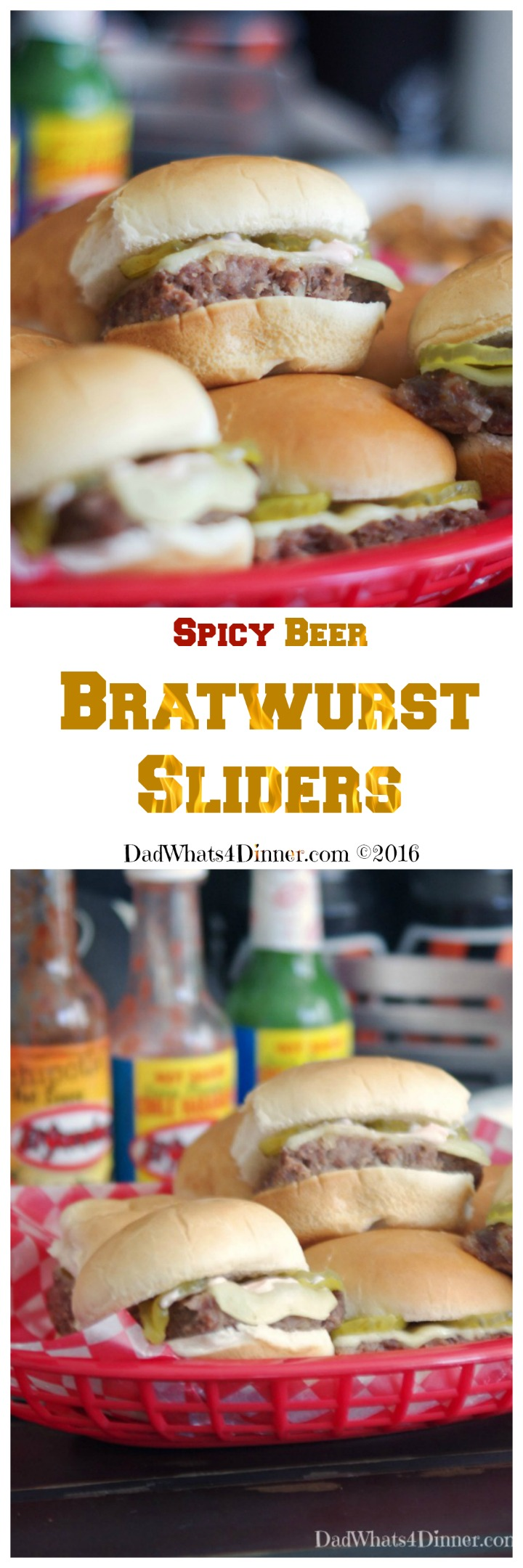 Spicy Beer Bratwurst Sliders combines three classic tailgating foods: Beer, Bratwurst, and Hamburgers in a little slider that packs a nice spicy kick. #gameday #Sliders #Tailgate #Appetizers #Football