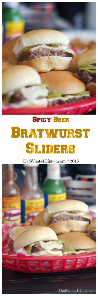 Spicy Beer Bratwurst Sliders combines three classic tailgating foods: Beer, Bratwurst and Hamburgers in a little slider that packs a nice spicy kick.