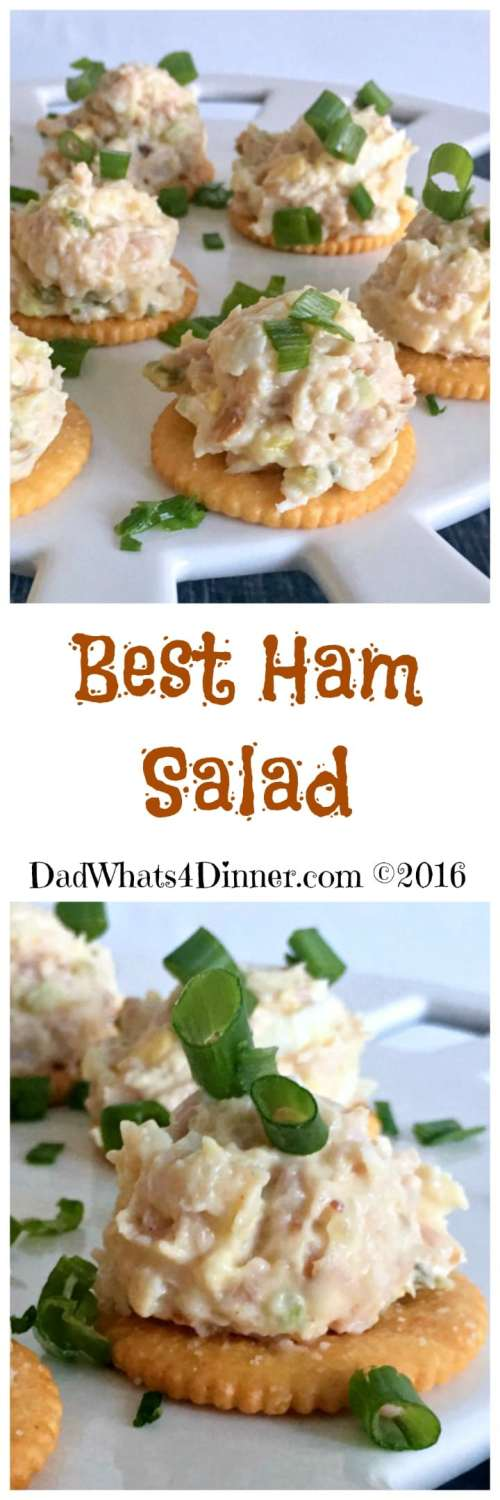 Quick and easy Best Ham Salad spread is the perfect recipe to use up that leftover holiday ham. Made with ground ham, hard-boiled eggs, mayonnaise, mustard, pickle relish and served on crackers.