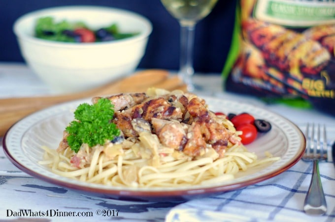 When you need a healthy, kid friendly, 30 minute meal try my Easy Mediterranean Chicken Pasta. Fire grilled chicken, veggies in a light cream sauce.