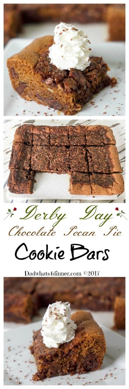 These luscious Derby Day Chocolate Pecan Pie Cookie Bars is the perfect bite size, easy to serve treat for your Derby Day party guests. #recipe #dessert #cookie bars #Derby #Pecan Pie www.dadwhats4dinner.com