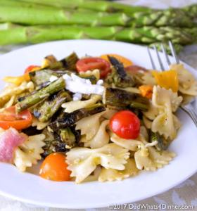 If you love pasta salad you will be blown away with my Grilled Asparagus Pasta Salad for #BBQWeek. Veggies grilled to perfection with a tangy basil and roasted garlic vinaigrette. #BBQWeek