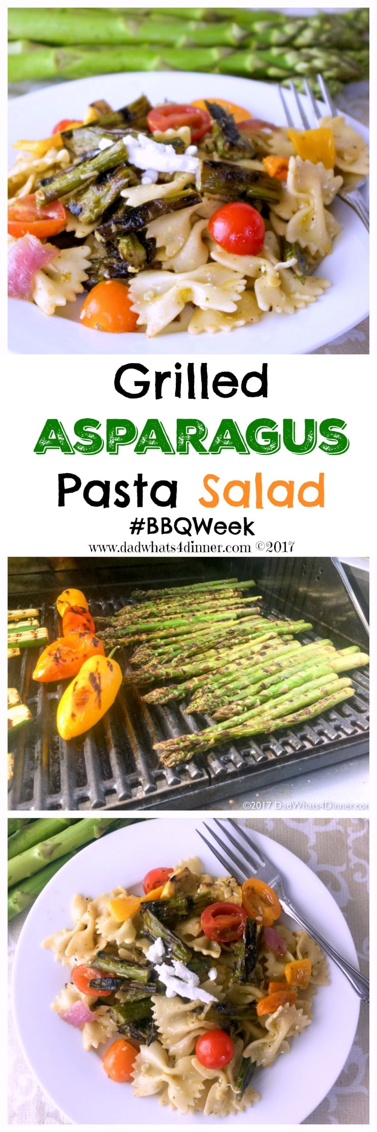 If you love pasta salad you will be blown away with my Grilled Asparagus Pasta Salad for #BBQWeek. Veggies grilled to perfection with a tangy basil and roasted garlic vinaigrette. www.dadwhats4dinner.com #ad
